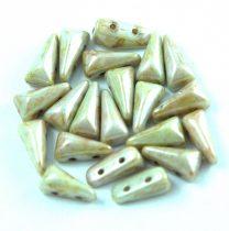 Vexolo cseh préselt 2lyukú gyöngy - Alabaster Green Brown Luster - 5x8mm