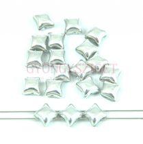Wibeduo cseh préselt 2lyukú gyöngy - Crystal Silver - 8mm