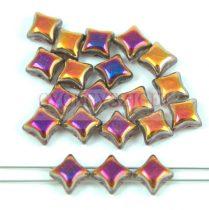 Wibeduo cseh préselt 2lyukú gyöngy - Crystal Rainbow Metallic Peach - 8mm