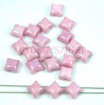 Wibeduo cseh préselt 2lyukú gyöngy -  White Pink Luster - 8mm