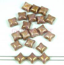 Wibeduo cseh préselt 2lyukú gyöngy -  White Pink Bronze Luster - 8mm