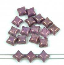 Wibeduo cseh préselt 2lyukú gyöngy -  White Purple Vega Luster -  8mm