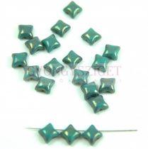 Wibeduo cseh préselt 2lyukú gyöngy -  Opaque Turquoise Green Gold Luster - 8mm