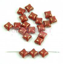 Wibeduo cseh préselt 2lyukú gyöngy -  Opaque Red Gold Luster - 8mm