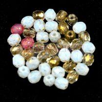 Cseh csiszolt golyó gyöngy -  arany opál perzsgő rózsa mix-4mm