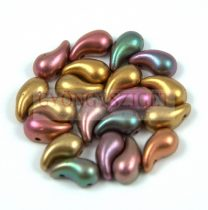 Zoliduo cseh préselt 2lyukú gyöngy - Matte Metallic Bronze Iris - 5x8mm - JOBBOS