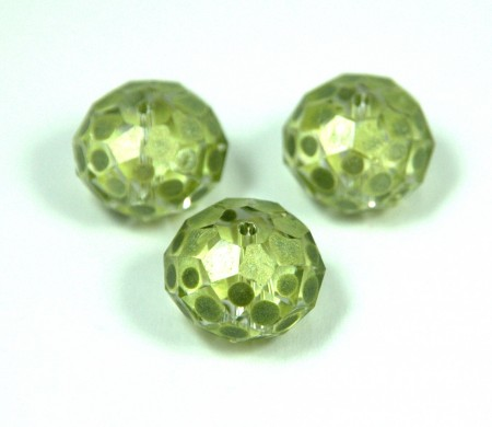Hand-painted faceted crystal doughnut bead